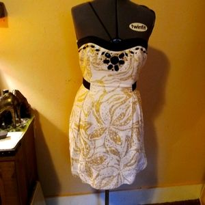 Lilly Pulitzer White Gold Black Beaded Prom Dress